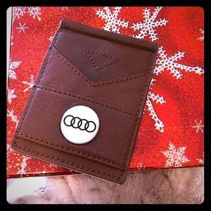 Brown Audi leather moneyclip or flip golf wallet